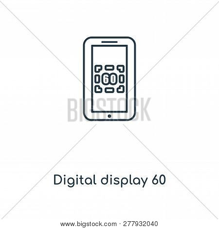 Digital Display 60 Icon In Trendy Design Style. Digital Display 60 Icon Isolated On White Background