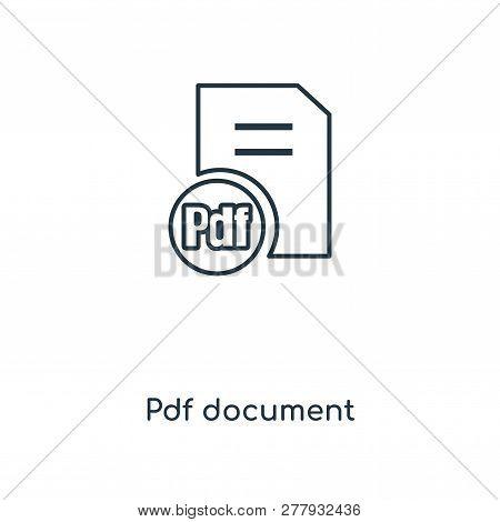 Pdf Document Icon In Trendy Design Style. Pdf Document Icon Isolated On White Background. Pdf Docume