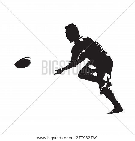 Rugby Player Passing Ball, Isolated Vector Silhouette, Side View. Team Sport