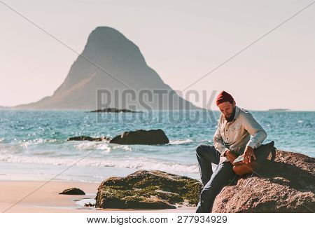 Man With Backpack Relaxing On Beach Sea Summer Trip Vacations Travel Tourist Lifestyle Adventure Jou