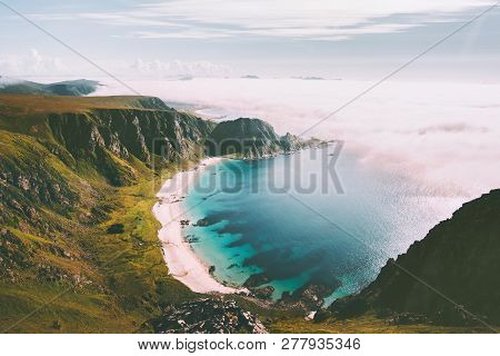 Sea Beach Landscape In Norway Idyllic Aerial View Summer Travel Vacations Nature Scenery Seaside And