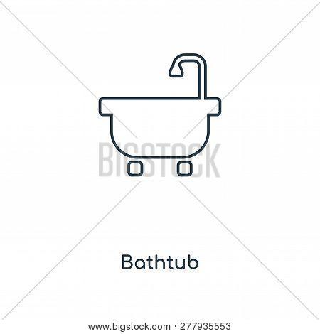 Bathtub Icon In Trendy Design Style. Bathtub Icon Isolated On White Background. Bathtub Vector Icon