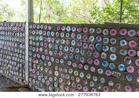 Coloured Plastic Bottle Wall For Recycling Purposes