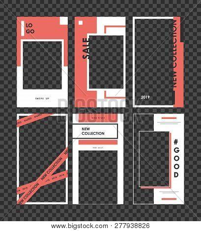 Stories Mockup. Editable Template For Social Networks Stories. Design Backgrounds For Social Media.