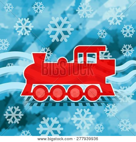 Funny Steam Locomotive On Winter Background With Snowflakes