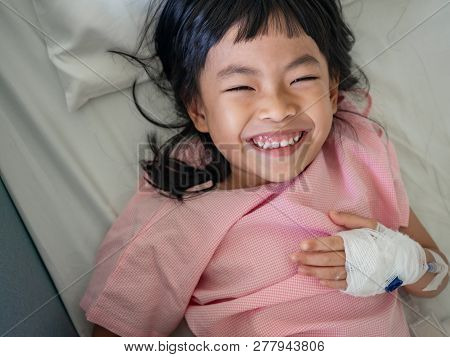 Child Girl On Hospital Bed