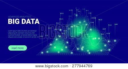 Abstract Technology Background. Big Data Stream Visualization. Landing Page With Cryptography Design