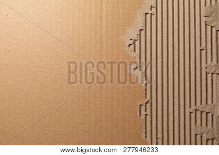 Texture Of Corrugated Cardboard With Torn Edges. Texture Cardboard Packaging. Cardboard Texture. Car