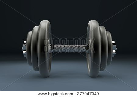 3d Rendering Image Of A Dumbbell For Sports. Bodybuilding Equipment