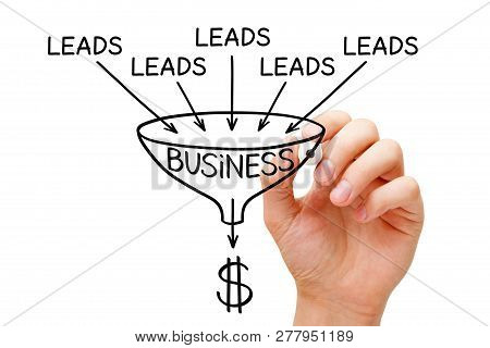 Hand Sketching Lead Generation Business Sales Funnel Concept With Marker On Transparent Wipe Board.