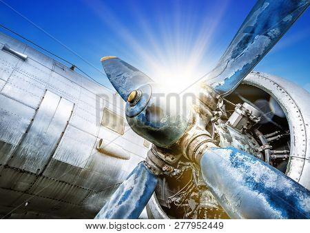 Propeller Of An Historical Aircraft Against The Sun
