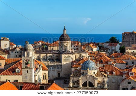 Cityscape View Of Dubrovnik, Croatia With The Clocktower, Church Of St. Blaise, And The Cathedral Vi