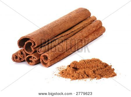 Cinnamon On White Background