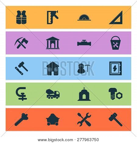 Construction Icons Set With Miner, House, Ax With Pickax And Other Equipment Elements. Isolated  Ill