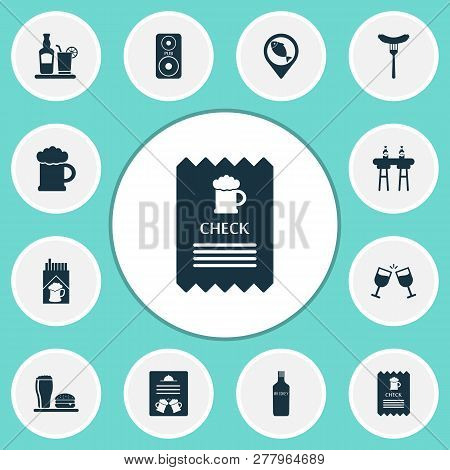 Beverages Icons Set With Check, Tequila, Whiskey And Other Bratwurst Elements. Isolated Vector Illus