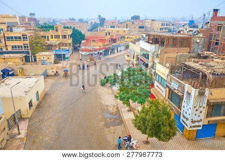 Giza, Egypt - December 20, 2017: The Urban Scene Of Giza Town With Old Residential Houses, Numerous