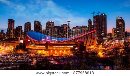 Calgary, Canada - May 23, 2015:  Panorama Of Calgary Downtown Skyline At Sunset Blue Hour Showing Th