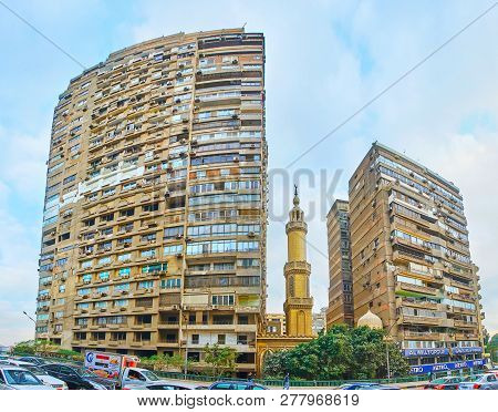 Giza, Egypt - December 19, 2017: The Living Buildings At The Cairo University Bridge, With The Small
