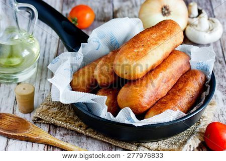 Sausage Rolls, Pastry Wrapped Sausages, Fried Meat Sausages In Blankets, Sausage Pies In Dough