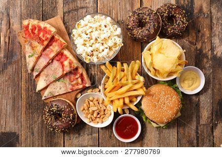 assorted fast food, junk food