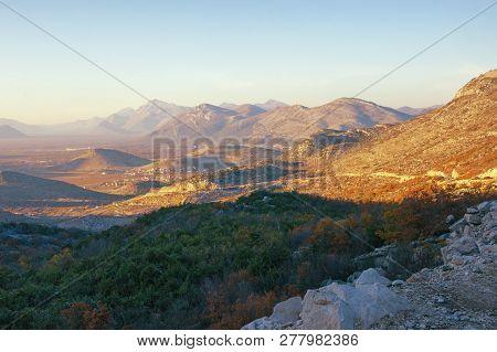 Beautiful Mountain Landscape On Sunny Autumn Day. Dinaric Alps, Bosnia And Herzegovina, Republika Sr