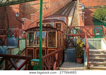 Budapest, Hungary, March 22 2018: Budapest Castle Hill Funicular. Hungary. Vintage carriages are at the last stop