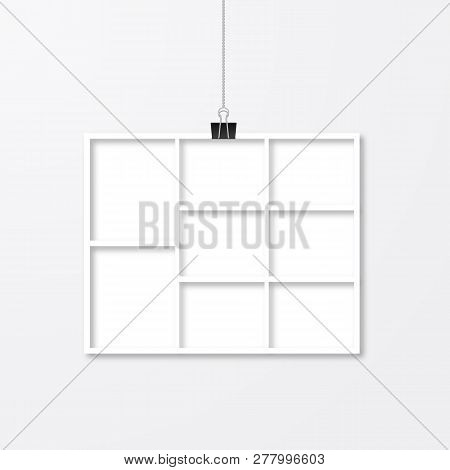 Paper Photo Frame Hanging With Binder Clips. Template Collage Vector Illustration Isolated. Paper Cu