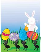 A group of ants carrying Easter Eggs while the Easter Bunny looks on poster