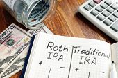 Roth IRA vs Traditional IRA written in the notepad. poster