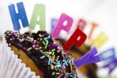 Cupcakes spelling out happy birthday poster