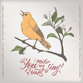 Valentine romantic color card with singing bird and brush lettering saing You make my heart sing. poster