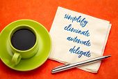 simplify, eliminate, automate, delegate productivity concept - inspirational handwriting on a napkin with a cup of coffee poster