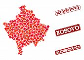 Geographic collage of dot mosaic map of Kosovo and red rectangle grunge seal watermarks. Vector map of Kosovo formed with red square points. Flat design for geographic posters. poster