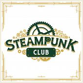 Steampunk logotype design victorian era cogwheels club logo vector insignia poster great for banner or party invitation poster