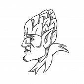 Drawing sketch style illustration of an elf, a human-shaped supernatural being in Germanic mythology folklore looking to side wearing hops hat on head on isolated white background in black and white. poster