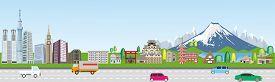 Japan Travel Environment Infographics Background. Vector Illustration.