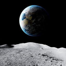 Earth Planet And Moon In Space. Elements Of This Image Furnished By Nasa