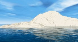 Alone snow mount on water- 3D rendering.