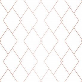 Rose Gold Linear Pattern. Vector Geometric Seamless Texture. Pink And White Ornament With Delicate G