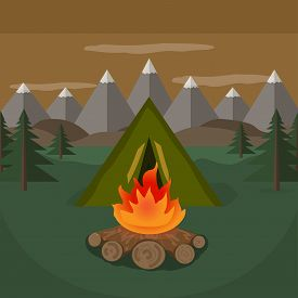 Tent Camp Near The Mountains. Vector Illustration.