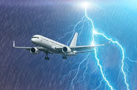 Airplane Approach At The Airport Landing In Bad Weather Storm Hurricane Rain Llightning Strike