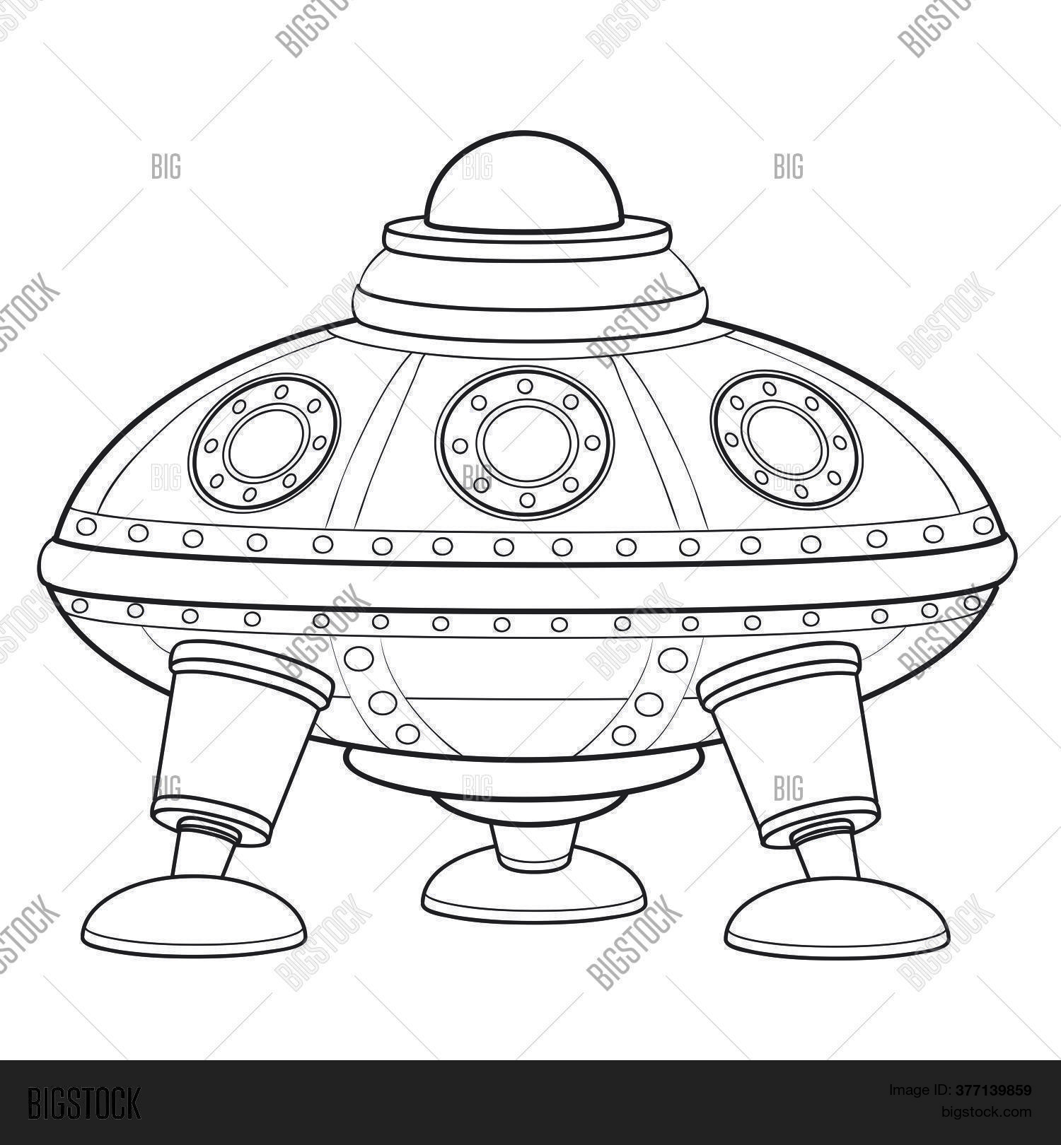 Flying Saucer Sketch Vector Photo Free Trial Bigstock