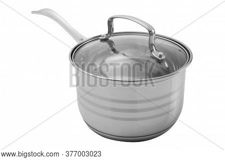 Shiny Stainless Steel Saucepan With Long Handle And Glass Lid, On White Background
