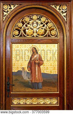 ZAGREB, CROATIA - MAY 22, 2013: Saint Stephen, detail of Iconostasis in Greek Catholic Co-cathedral of Saints Cyril and Methodius in Zagreb, Croatia