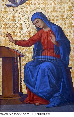 ZAGREB, CROATIA - MAY 22, 2013: Annunciation of the Virgin Mary, detail of Iconostasis in Greek Catholic Co-cathedral of Saints Cyril and Methodius in Zagreb, Croatia