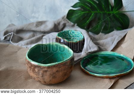 Clay Plates, Handmade Bowls In Wabi Sabi Style. Handmade Ceramic Dishes. Clay Dishes. Ecology Concep