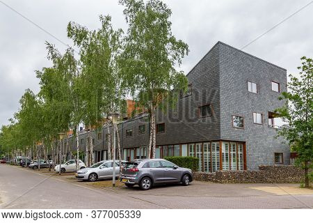 Arnhem, Netherlands - July 17, 2020: Modern Family Houses In Suburb Klarenbeek In Arnhem, Netherland