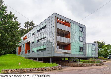 Arnhem, Netherlands - July 17, 2020: Modern Apartment Building With Balcony In Suburb Klarenbeek In