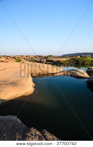 pond in Sampanbok in Mekong River Ubon Ratchathani. Grand canyon in Thailand poster