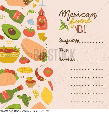Food Truck Mexican Food Menu. Set Of Colorful Hand Drawn Mexican Food Elements - Burrito, Taco, Marg